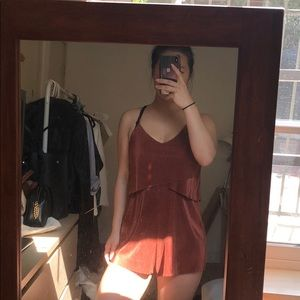 Pleated romper rust brown urban outfitters
